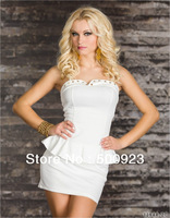 Free Shipping 2013 Hot Sale White With rivets embellished in Bustline Two pieces Sexy Dress