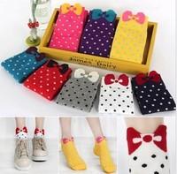 High Quality Women Color Bow Wave Socks Short Ship Socks Cute Cartoon Socks For Girl Free Shipping