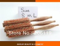 #2883 Professional salon high quality wood real boar bristle round hair brush with 3 different sizes