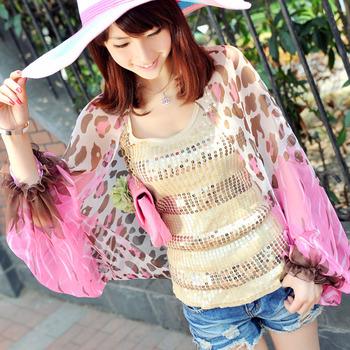 Chiffon leopard print summer sunscreen cape anti-uv sun protection clothing cloak female silk scarf long design