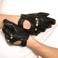 Hot Sale 100% Genuine Leather Male Fashion Sheepskin Men's Motorcycle Racing Gloves Black color,S,M,L,XL Size#M018W
