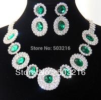 Free Shipping High Quality Austrian Crystal Green Stone Rhodium Plated Bridal Jewelry Set