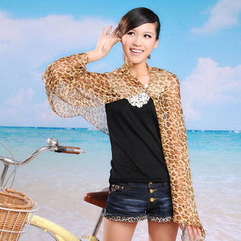 Leopard print chiffon cape sunscreen sun-shading silk scarf dual magicaf design long scarf