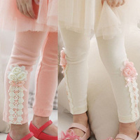 2013 Free shipping New Spring autumn Children's  Girls flower lace Leggings Kids baby Leggings Size 100-140