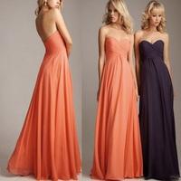 Hot Sale Long Chiffon Bridesmaid Dress 2014 Promotion Sweetheart Pleated