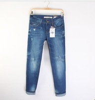 freeshipping Women's end of a single slim hole female jeans