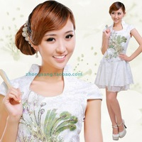 Free shipping chinses Traditional Short qipao cheongsam dress summer fashion lace short fashion sexy vintage design