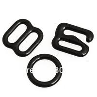 100set/lot Black Lingerie Hardware Sewing Clips Clasp Hooks Bra Strap J6202