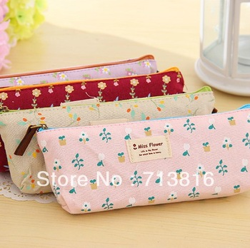 New!Creative fresh floral linen cloth triangle Pencil Cosmetic Bag Storage Bag  stationery pencil cases/pen pouch(Min order$10)