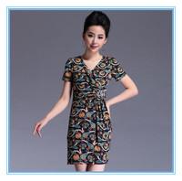 Euro & America Summer Retro Printing New Style Fashion V-Neck Lady's Collect Waist Type Slim Hand Made Beading Brand Women Dress