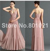 bridemaid dresses wedding guest dress prom gown floor length spaghetti strap v neckline empire pleat zipper