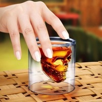 Personalized double layer skull pirate glass cup crystal skull transparent glass For Whiskey,brandy FREEshipping