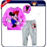 Baby Girls Minnie Pyjama Clothing Set Kids Long Sleeve Blouse T Shirt Pants Pajama Sets Children's Winter Pijama Clothes Sets