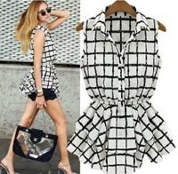 New 2014 Fashion Casual Street Style Tops For Women Blouse Tunics Lapel Sleeveless Pleated Summer Chiffon Blouses Ladies Shirt