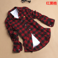 Autumn new arrival 2013 fashion 13 100% cotton flannel sanded women's plaid shirt