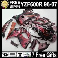 7gifts&Tank 96-07 Body For YAMAYA Red flames black YZF600R  96 97 98 99 YZF 600R 00 01 02 03 MT68 YZF-600R 04 05 06 07 Fairing