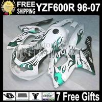 7gifts&Tank 96-07 Green flames For YAMAYA YZF600R  96 97 98 99 YZF 600R 00 01 02 03 MT71 white!!! YZF-600R 04 05 06 07 Fairing