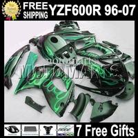 7gifts&Tank 96-07 Body For YAMAYA YZF600R  96 97 98 99 YZF 600R Green flames blk 00 01 02 03 MT70 YZF-600R 04 05 06 07 Fairing