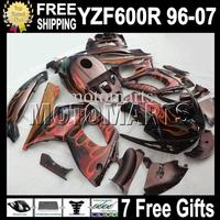 7gifts&Tank 96-07 Body For YAMAYA YZF600R  96 97 98 99 Orange flames blk YZF 600R 00 01 02 03 MT69 YZF-600R 04 05 06 07 Fairing