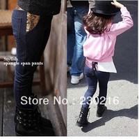 5pcs/lot hot sale Girl's Pants children beautiful pink Sequins cotton Imitation jeans, Fashion Pencil pants Legging.