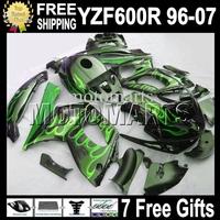 Green flames black 7gifts&Tank 96-07 For YAMAYA YZF600R  96 97 98 99 YZF 600R HOT 00 01 02 03 MT73 YZF-600R 04 05 06 07 Fairing