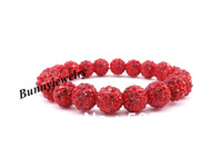 Red 10mm Rhinestone Disco Ball Beaded Bracelet Valentine's Day Gift Free shipping Min.order is $10