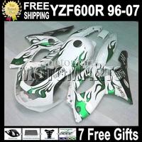 7gifts&Tank 96-07 Green white For YAMAYA YZF600R  1996-2007 96 97 98 99 YZF 600R 00 01 02 03 MT79 YZF-600R 04 05 06 07 Fairing