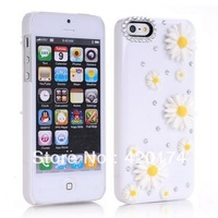 hot selling Daisy flower Crystal Diamond 3D elegant flower rhinestone Case for iPhone 5 5g