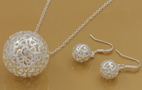 Promotions!Fashion 2 Pieces Set Necklace/Earrings Hot Selling Silver Ball Beads Pendant Jewelry Set