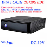 Free shipping htpc diy with AMD E450 1.65GHz dual core SECC chassis DVI-D VGA dual display 2G RAM 20G HDD windows or linux