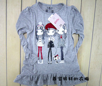 Super thin ultra soft doll print paillette modification of the girl long-sleeve T-shirt  clothes