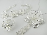 Fast Shipping Hot Selling Necklace/Bracelet/Ring 3 Pieces Set Fashion Silver Peony Flower Pendant Jewelry Set