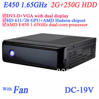 diy htpc with fan 19V DC onboard AMD E450 1.65GHz dual core SECC chassis DVI-D VGA dual display 2G RAM 250G HDD windows or linux