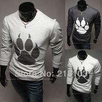 New styles The unique Korean men's long sleeve crew neck T-shirt printing t-shirt