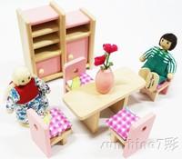 7 Set A Bag Wooden Children Doll Houses Dolls & Accessories 6 Kinds Places + 6 Kinds Dolls