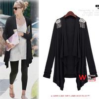 Free Shipping 2014 Fashion Autumn Irregular Sweaters Womens Loose Cardigan Outerwear Size XL/XXL/XXXL  YY8-541