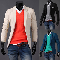 Men's Suit Slim fit Brand fashion Korean style.Casual items Free shipping Single-breasted Green Beige Black