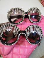 Pls001 Female Sunglasses Tassel Full Rhinestone Sunglasses Fashion Round And Square Sunglasses For Woman Free Shipping