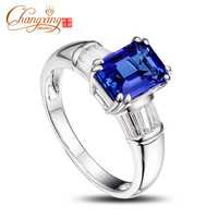 14K White Gold Emerlad Cut 1.76ct Natural Tanzanite Baguette Cut Diamond Ring