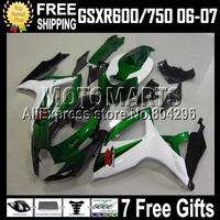 7gifts+Cowl For SUZUKI 06 07 Green K6 GSXR600 GSX-R750 C#10552  Green white black GSX-R600 2006 2007 GSXR750 Fairings Kits