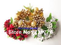 10 Bunches 3 colors Small Bouquet Satin Flowers Mini artificial plastic beads flower diy  wedding Scrapbooking decoration