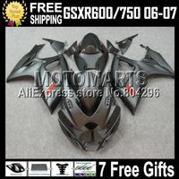 7gifts For SUZUKI GSXR600 K6 06 07 2006 2007 GSXR750 GSX-R600 new ALL Flat Silver grey black C#10589  06-07 GSX-R750 Fairing