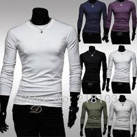 Simple man all-match color shirt men's long-sleeved t-shirt slim 6 color