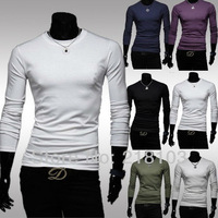 Simple man all-match color shirt men's long-sleeved t-shirt slim 6 color