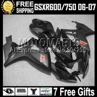 7gifts+Cowl ALL Black For K6 06 07 SUZUKI GSXR600 GSXR750 C#10562 Falt gloss black GSX-R600  2006 2007 GSX-R750 Fairing Body