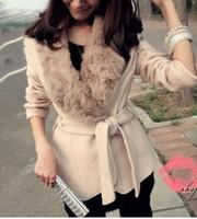 2013 women fur collar large lapel woolen outerwear woolen Wool Blends coat Women's Clothing free size beige white color