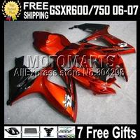 7gifts+Cowl GSX-R750For SUZUKI K6 06 07 GSXR600 HOT Orange black GSX-R600 C#10539  2006 2007 GSXR750 Orange Fairing Bodywork