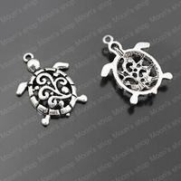 (27841)Free Shipping Wholesale Vintage Charms & Pendants 28*21MM Antique Silver Alloy Sea Turtle for Necklaces 30PCS