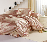 Queen Quality bedding cuttanee for flexography satin jacquard four piece set powder