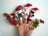 free shipping 25pcs/lot Plush Family finger puppets+wool Wear toys+finger doll+Christmas gifts+Baby doll (5 style) Free Shipping